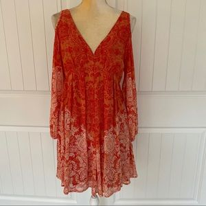 Free People boho orange open shoulder top medium